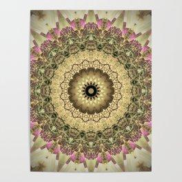 Vintage Gold Pink Mandala Design Poster