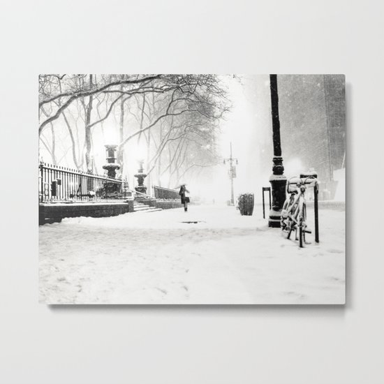 Snow - New York City - Bryant Park Metal Print