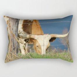 Long Horn Cow Farm Style Photography Rectangular Pillow