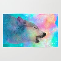 hobbes Area & Throw Rugs featuring Breathing Dreams Like Air (Wolf Howl Abstract) by soaring anchor designs