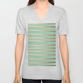 Stripes Metallic Gold Mint Green Unisex V-Neck