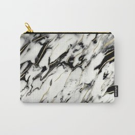 Classic White Marble Gold Foil Glam #1 #marble #decor #art #society6 Carry-All Pouch