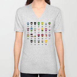 Pixel Supervillain Alphabet 2 Unisex V-Neck