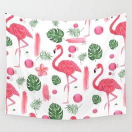 Elegant hot pink watercolor tropical flamingo floral Wall Tapestry