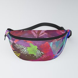 Watercolor Iris Flower with Shadows - Red & Violet Fanny Pack
