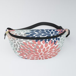 Floral Bloom Print, Living Coral, Pale Aqua Blue, Gray, Navy Fanny Pack