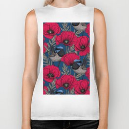 Fairy wren and poppies Biker Tank