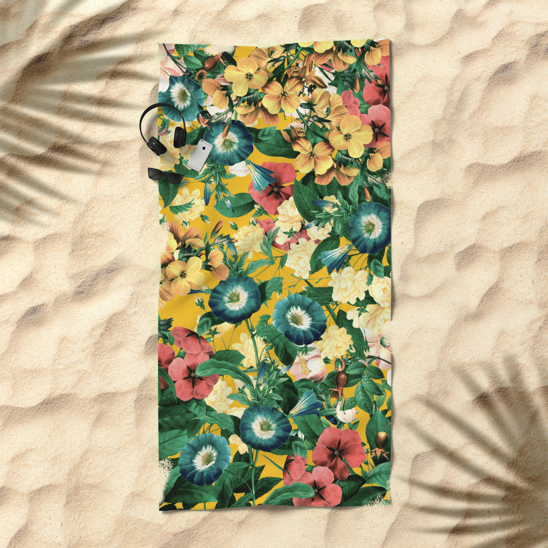 Tangerine Floral Pattern Vintage Beach Towel By Naturemagick