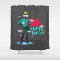 super hero Shower Curtains featuring SUPER HERO by SNEP