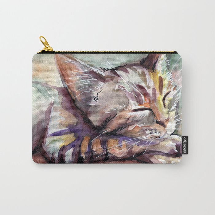 Sleeping Kitten Watercolor Cat Whimsical Cats Carry-All Pouch