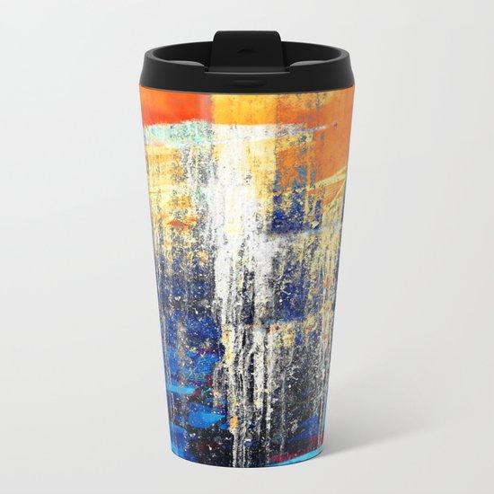 Golden Dawn, Abstract Landscape Art Metal Travel Mug
