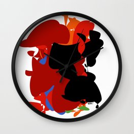 Red Black Forest Colorful Abstraction Digital Art - RegiaArt Wall Clock