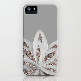 Gray Agave with Rose Gold Glitter #1 #shiny #tropical #decor #art #society6 iPhone Case