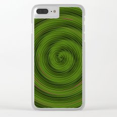 Crazy Green Spiral Clear iPhone Case