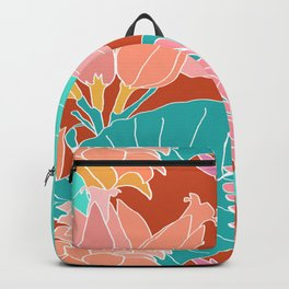 Coral Ginger Flowers + Elephant Ears in Rust Backpack