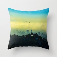 los angeles Throw Pillows featuring Los Angeles by Sbnumb3