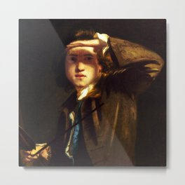 "Sir Joshua Reynolds ""Self-portrait shading the Eyes"" Metal Print"