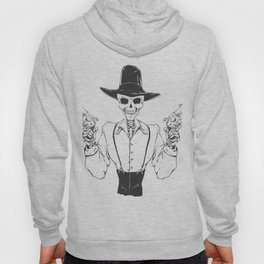 Gangster skull - grim  reaper cartoon - black and white Hoody