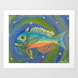 Ocean Fish on Blue Art Print