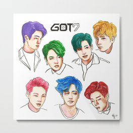 GOT7 Colourful Metal Print
