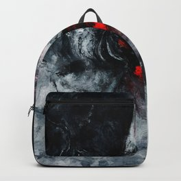 Red and Black Minimalist Abstract Painting Backpack