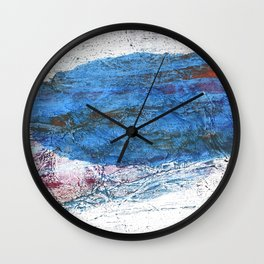 Steel blue colored wash drawing texture Wall Clock