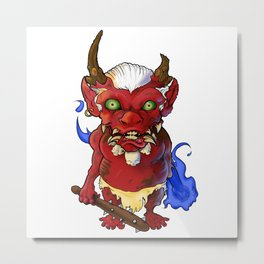 Bobblehead Oni Demon Metal Print