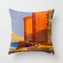 Napoli Travel Poster Throw Pillow