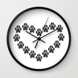 Paw Prints Heart Wall Clock