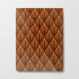 Brown Retro Flower Pattern Metal Print