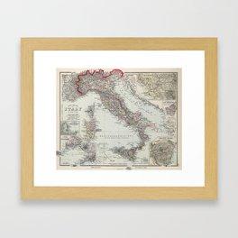 Vintage Map of Italy (1878) Framed Art Print