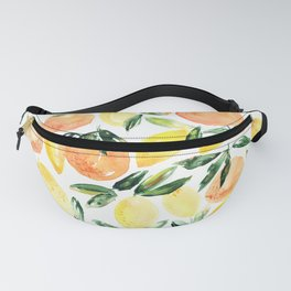 Sicilian orchard: lemons and oranges in watercolor, summer citrus Fanny Pack
