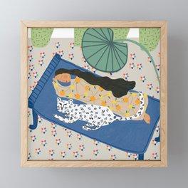 Woman and White Tiger sleeping  Framed Mini Art Print