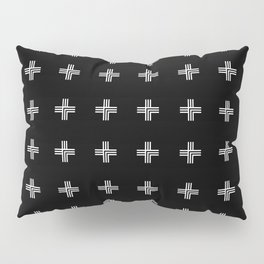 Geometric Swiss Cross Pattern (black background) Pillow Sham