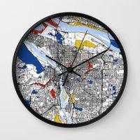 portland Wall Clocks featuring Portland by Mondrian Maps