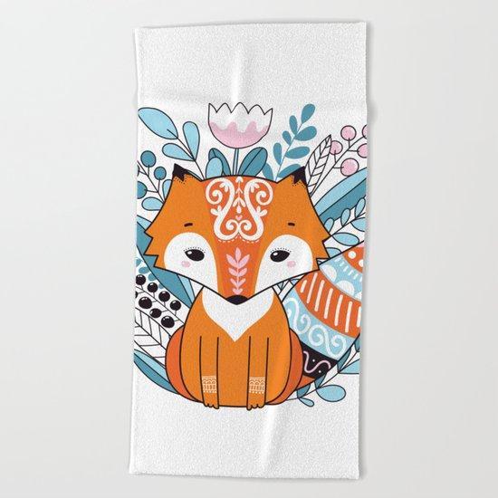Cute fox Beach Towel