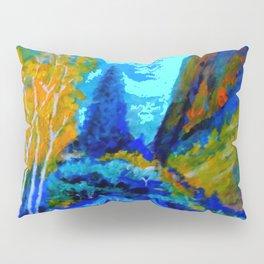 Western Golden Aspens Blue Mountain Landscape Art Pillow Sham