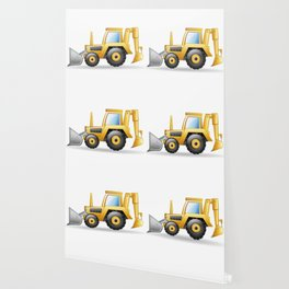 Yellow Excavating Tractor Icon Wallpaper