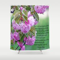 poem Shower Curtains featuring Mother's Day Poem  by Frankie Cat