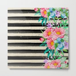 Modern stripes and tropical flowers hand paint Metal Print