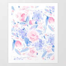 Scattered Lovers Blue on White Art Print