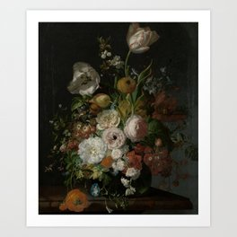 Rachel Ruysch - Still life with flowers in a glass vase (1690-1720) Kunstdrucke