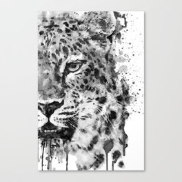 Black And White Half Faced Leopard Canvas Print