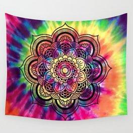 Trippy Rainbow Tiedye Mandala Wall Tapestry