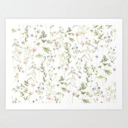 Pastel Vintage Flowers Art Print