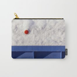 Red Dot In White Snow On Blue Container Carry-All Pouch