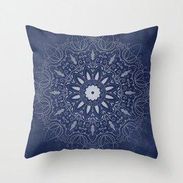 Indigo Mystique Mandala Throw Pillow