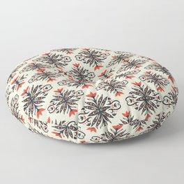Scandinavian Flower Pattern Orange Floral Vintage Floor Pillow