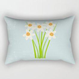 Pastel Mint Blue White Daffodils Hero Rectangular Pillow