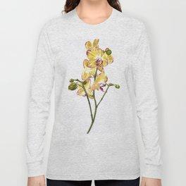 Yellow Phalaenopsis Orchid Traditional Artwork Long Sleeve T-shirt